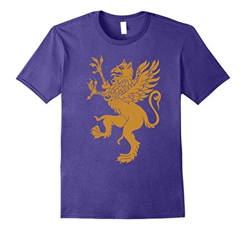 Mens GRIFFIN SHIRT, Gold Eagle Lion Medieval Bird Welsh TShirt Large Purple (Eagle Large Gold)