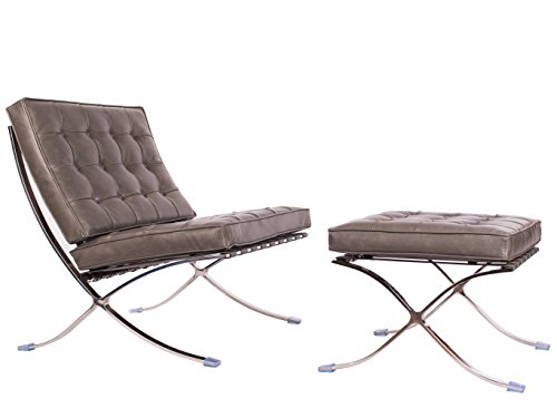 Barcelona Sofa (Mid Century Modern Classic Barcelona Style Replica Lounge Chair & Ottoman With Premium Grey PU Leather and Stainless Steel Frame)