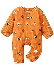 Durveency Infant Newborn Baby Boy Girl Clothes Halloween Outfits Pumpkin Print Jumpsuit Long Sleeve Cotton Linen Romper