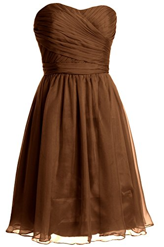 MACloth Women Strapless Short Bridesmaid Dress Wedding Cocktail Party Gown Marrón