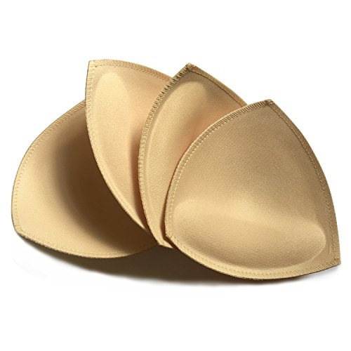 ush up Triangle Bra Pads Inserts for Bikinis Top Sport Bra Swimsuit -Beige ()