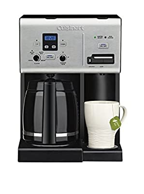 Cuisinart Coffee Plus 12-Cup Programmable Coffeemaker with Hot Water System, Black/Stainless