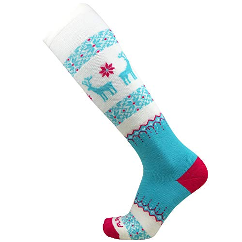 Pure Athlete Warm Ski Socks - Sweater Deer Sock for Skiing - Merino Wool Winter, Snowboard (Teal-Neon Pink, L) ()