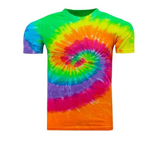 Kara Hub Tie Dye T-Shirts Handcrafted Tie-Dye Adult Men T Shirts (Large, Moon -