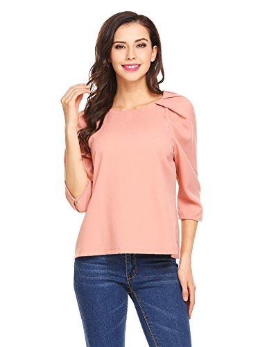 Grabsa Women's Office Blouse Round Neck 3/4 Sleeve Tops Pink (Tulip Sleeve Top)