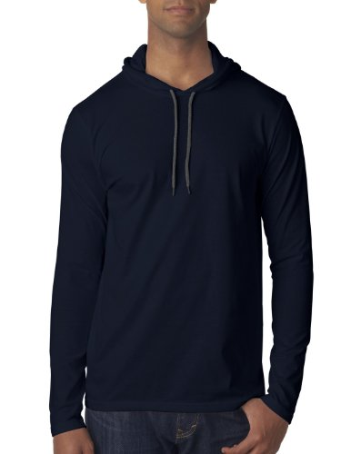 (Anvil Men's Lightweight Long Sleeve Hooded Tee (Navy) (Medium))