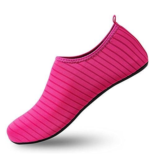 Rouge Laiwodun Chaussures Sécurité Piscine D'eau Aquatiques Et Chaussons 7 Plage Rochers De vwrqvHB