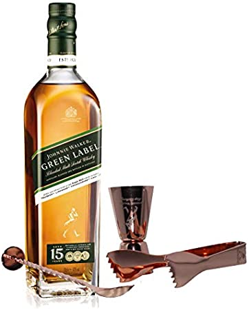 Johnnie Walker Green Label Set con Cubiertos para Bar, Whisky Blended Blended 15 años, Scotch, Alcohol, Botella, 43%, 700 ml