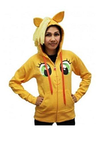 My Little Pony Applejack Face Juniors Orange Costume Hoodie with Mane (Juniors Small)