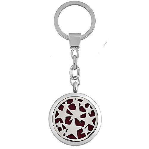 LilyJewelry Aromatherapy Essential Oil Diffuser Stars Locket Keychain