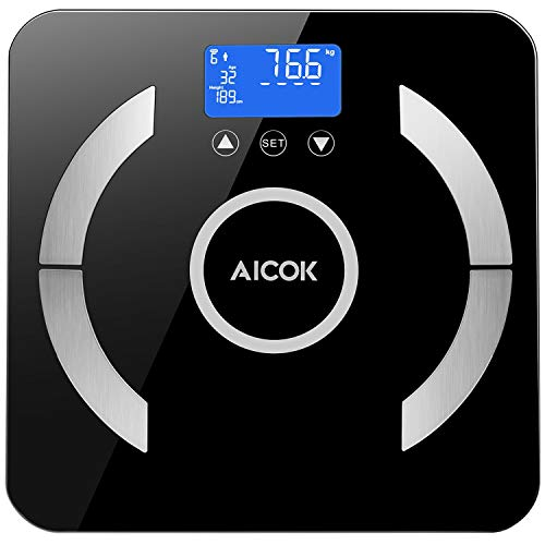- Digital Weight Scale, Aicok Body Fat Scale, 8 Body Composition Analysis, BMI, Body Fat, Water, Muscle, Bone Mass, Step-On Technology, 400 Pounds, Black