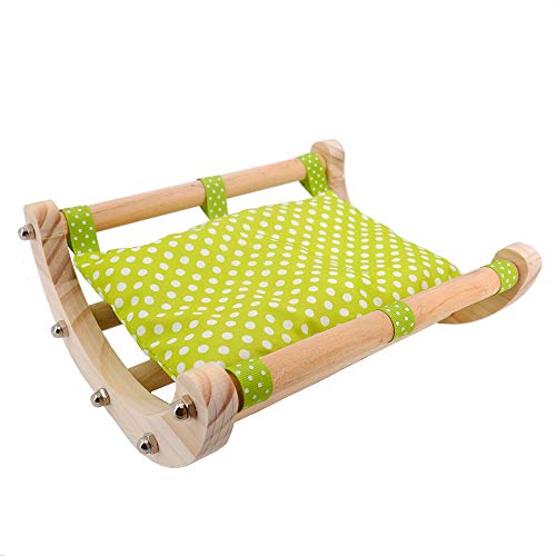 JanYoo Guinea Pig Bed Hedgehog House Pad Rabbit Bunny Bed Toy Cage Accessories Chair Shaker Wooden Detachable Frame(Green)