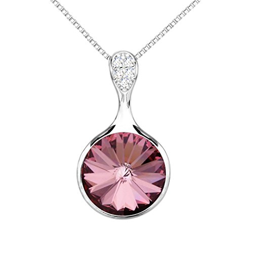 EleQueen 925 Sterling Silver CZ Solitaire Round Pendant Necklace Amethyst Color Austrian Crystal