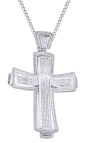 Round Cut Cubic Zirconia Cross Hip Hop Pendant in 14K White Gold Over Sterling Silver(1.81 Cttw) by AFFY
