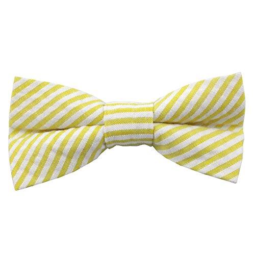 Jacob Alexander Boys' Prep Pre-Tied Adjustable Seersucker Banded Bow Tie - Yellow