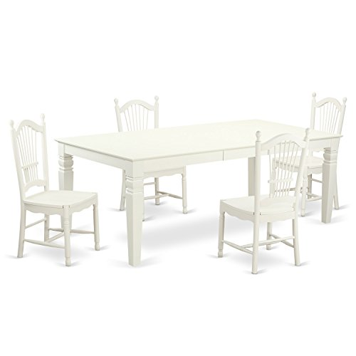 East West Furniture LGDO5-LWH-W 5 PC Kitchen Table Set with One Logan Table & Four Dining Room Chairs in Linen White Finish