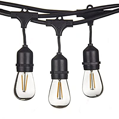 48 FT LED Outdoor String Lights by Proxy Lighting - UL Listed - 15 Hanging Sockets - Perfect Patio Lights - 2 Watt Dimmable LED Bulbs