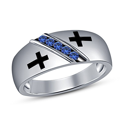 TVS-JEWELS 925 Sterling Silver Christian Black Enamel Cross Band Ring With Round Cut Blue Sapphire (10.5) by TVS-JEWELS