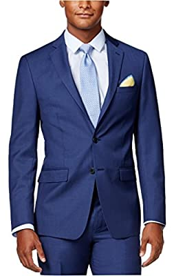 Calvin Klein Slim Fit Blue Solid Wool Two Button New Men's Sport Coat