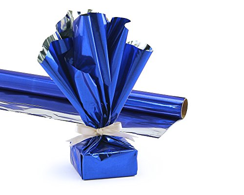 Hygloss Products Mylar Gift Wrap Roll - Great for Gift Bags, Baskets - 24 Inch x 8.3 Feet, Blue]()