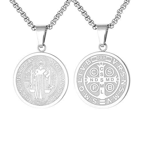 FJ St Saint Benedict Medal Pendant Necklace San Benito Necklace for Men Women