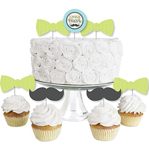 Dashing Little Man Mustache Party - Dessert Cupcake Toppers - Baby Shower or Birthday Party Clear Treat Picks - Set of 24 -