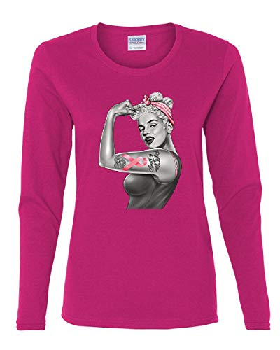 - Pinup Marilyn Monroe Pink Ribbon Women's Long Sleeve Tee Breast Cancer Awareness Hot Pink L