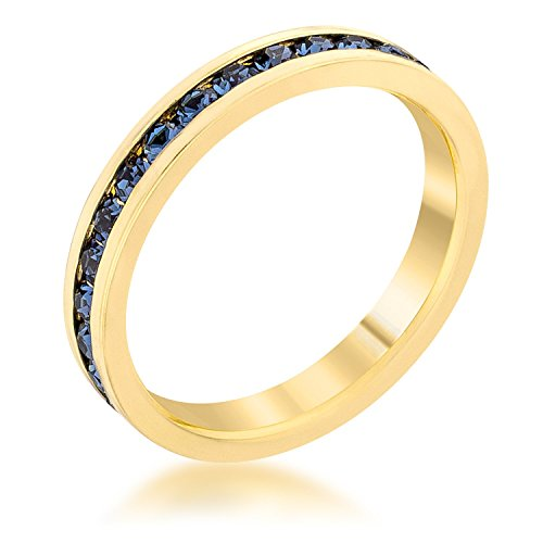 Covet Stylish Stackables Montana Blue Gold Ring