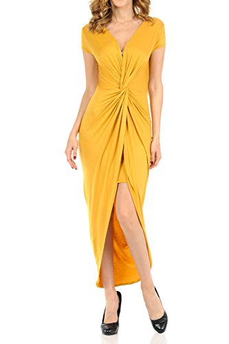 Auliné Collection Womens Deep Vneck Ruched Twist Flowy High Low Maxi Dress Mustard Large from Auliné Collection