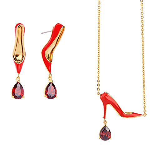 Gold Plated Enameled Red High Heel Shoes with Rhinestone Drop Jewelry Set Pendant Necklace and Dangle Earrings