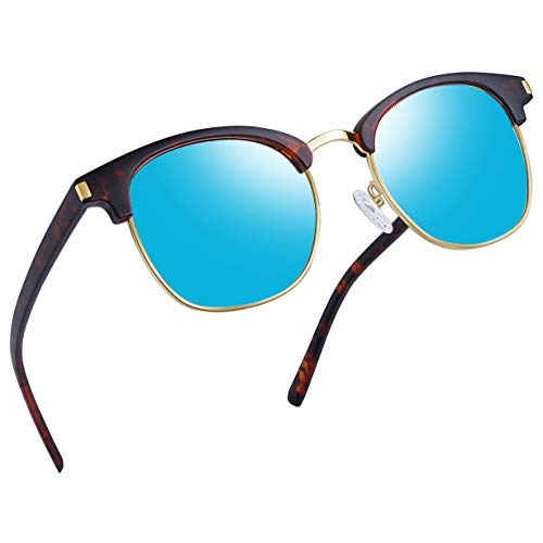 Joopin Semi Rimless Polarized Sunglasses Women Men Retro Brand Sun Glasses (Retro Leopard/Blue)