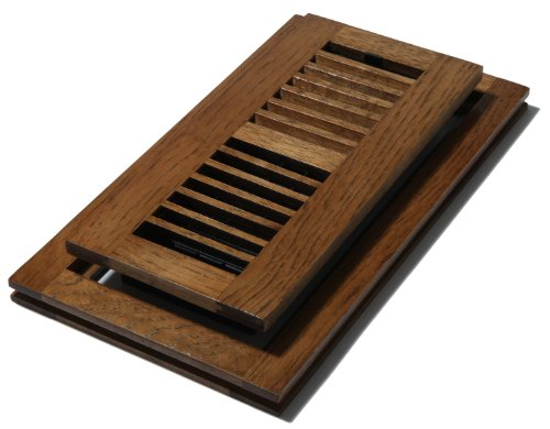 Decor Grates WLFH410-S 4-Inch by 10-Inch Wood Flush Mount Floor Register, Hickory Saddle