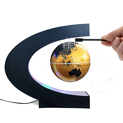 Floating Desktop Globe (Magnetic Levitation Floating World Map Globe C Shape Base, 3