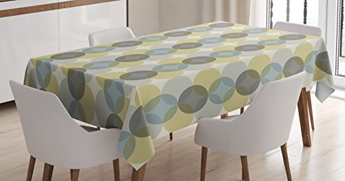 Atomic Design - Lunarable Circle Tablecloth, Flower of Life Design Vintage Fifties Midcentury Atomic Art Movement Inspired, Dining Room Kitchen Rectangular Table Cover, 52 W X 70 L inches, Grey Sephia Beige