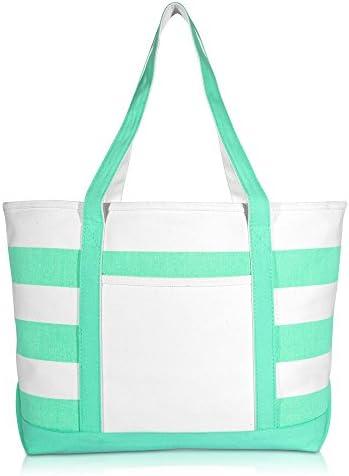 DALIX Striped Boat Bag Premium Cotton Canvas Tote White Mint Green