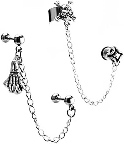 JewelrieShop Stainless Steel Ear Cuff Skull Skeleton Hands Chain Barbell Dangle,Cartilage Screw Earrings