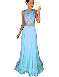 Artie Two Piece Long Beaded Bodice Long Chiffon Prom Dress Evening Gown