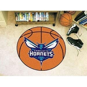 - MISC 27-Inch NBA Hornets Mat Basketball Shaped Round Rug Floor Carpet for Boys Bedroom Living Room Playarea Circle Area Rug Team Logo Sports Fans Gift Non-Skid Vinyl Backing, Soft Nylon, Blue White
