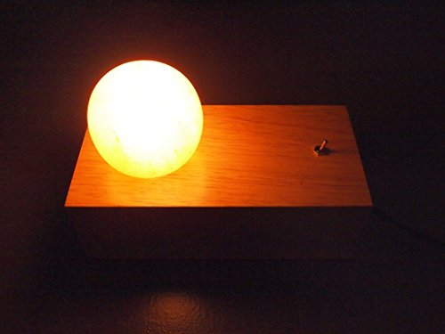 Himalayan Salt Lamp Designer Desk Modern Table Bed stand Home Lighting Rustic Wood Block Slab Base All Natural Air Filter Purifier Ionizer Yoga Health Minimalist Industrial Décor Rock Crystal SPHERE