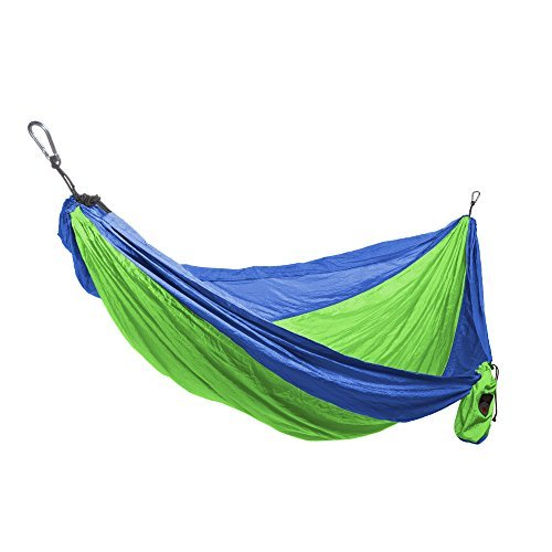 Grand Trunk Single Parachute Nylon Hammock with Carabiners and Hanging Kit: Perfect for Outdoor Adventures,Backpacking,and Festivals,Blue/Lime [並行輸入品] B07PGFGCD9