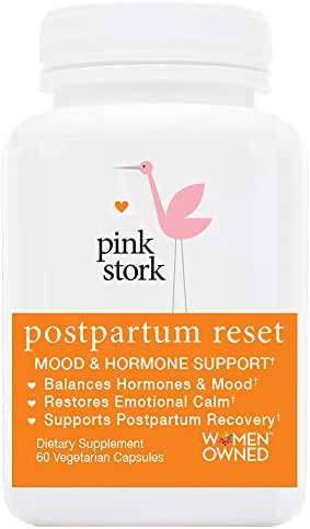 Pink Stork Postpartum Reset: Mood + Hormone Support; Naturally Balance Hormones + Support Postpartum Recovery in 4th Trimester, Support Breastfeeding Goals, 60 Capsules