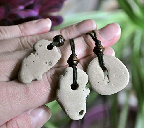 (Natural Hag Stone (Wishing Stone) Necklace with Wood Bead - Adder Stone - Witch Stone - Holey Stone - Odin Stone - SMALL)