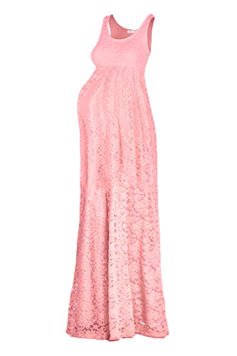 Peach Pink Lace - Beachcoco Women's Maternity Long Length Sleeveless Lace Dress (XL, Peach Pink)