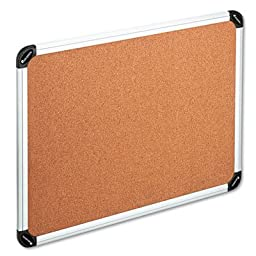 Cork Board with Aluminum Frame, 36 x 24, Natural, Silver Frame, Sold as 1 Each