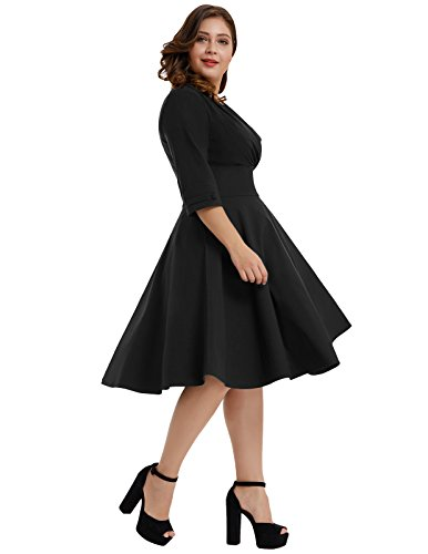 Hanna Nikole Women\'s Vintage 1950s Style Sleeved Plus Size Swing Dress
