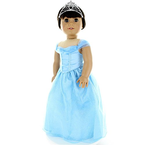 Doll Clothes - Princess Blue Dress Outfit Fits American Girl Doll, My Life Doll and other 18 inch Dolls