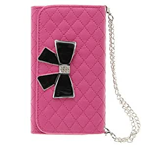 GOG-Grid Handbag Pattern Black Bowknot PU Leather Full Body Case with Chain for Samsung Galaxy S4 I9500