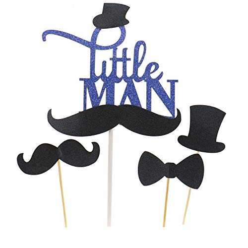JETEHO 31pcs Black Little Man Mustache Bow Tie Hat Cake Cupcake Toppers Picks for Wedding Birthday Baby Shower Little Man Mustache Party]()