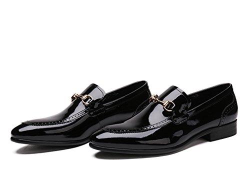 Zapatos Clásicos de Piel para Hombre Zapatos de cuero de los hombres de negocios de estilo británico Zapatos brillantes de un solo estilo ( Color : Negro , Tamaño : EU39/UK6 ) Negro