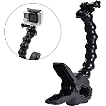 ALLCACA Jaws Flex Clamp Mount Camera Flexible Clip Adjustable Gooseneck Clamp Mount, Suitable for Gopro, Black